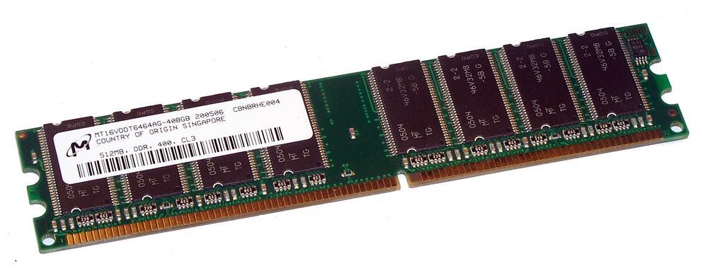 Micron MT16VDDT6464AG-40BGB (512MB DDR PC3200U 400MHz DIMM 184-pin) Memory
