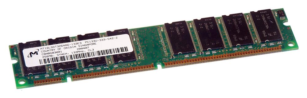 Micron MT16LSDT3264AG-133E3 (256MB SDRAM PC133U 133 MHz DIMM 168-pin) Memory