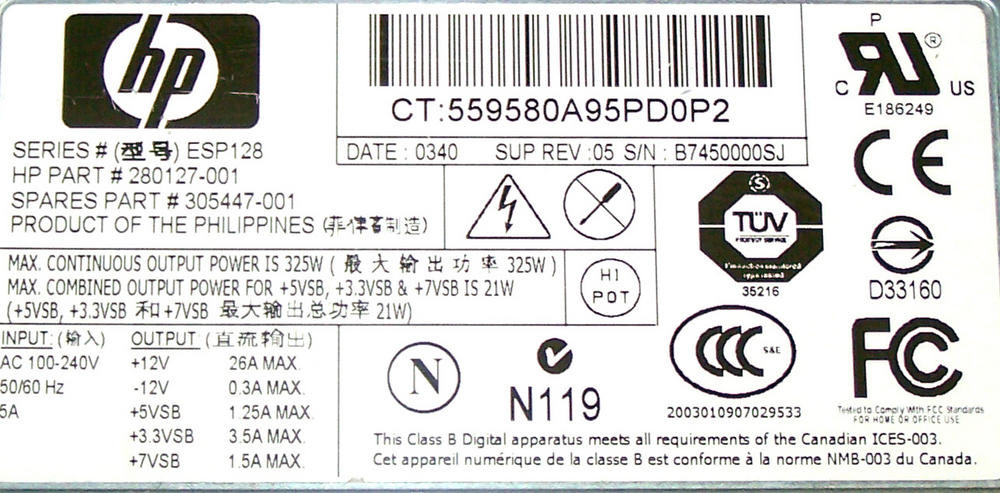 HP 280127-001 ProLiant DL360 G3 325W Power Supply | SPS 305447-001 ESP128 Thumbnail 2