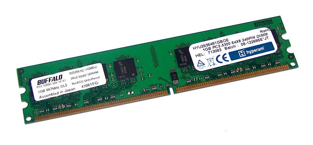 Hyperam HYU2536481GBOE (1GB DDR2 PC2-5300U 667MHz DIMM 240-pin) Memory Module