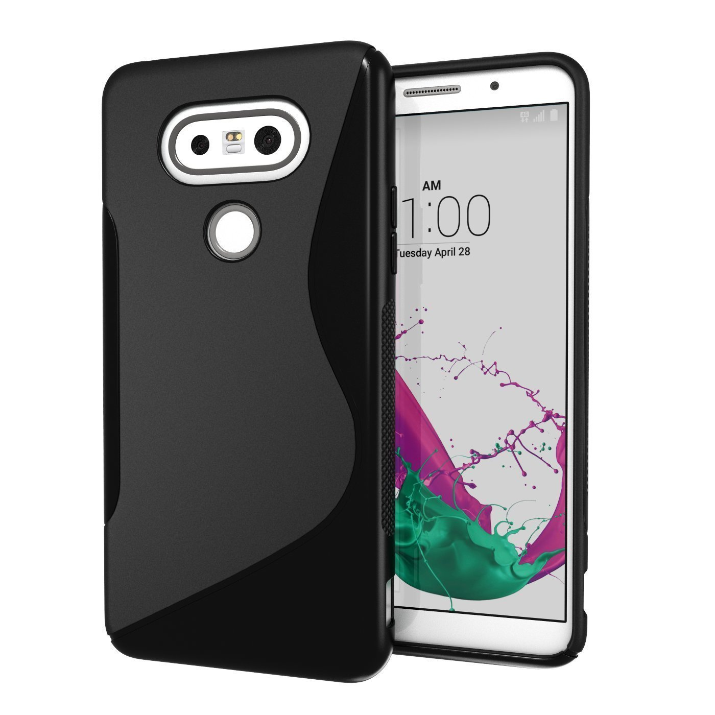the best attitude c1f3f cf21b Details about LG G5 Black S Line Soft TPU Silicone Gel [Wave Design] Case  Shock Resistant