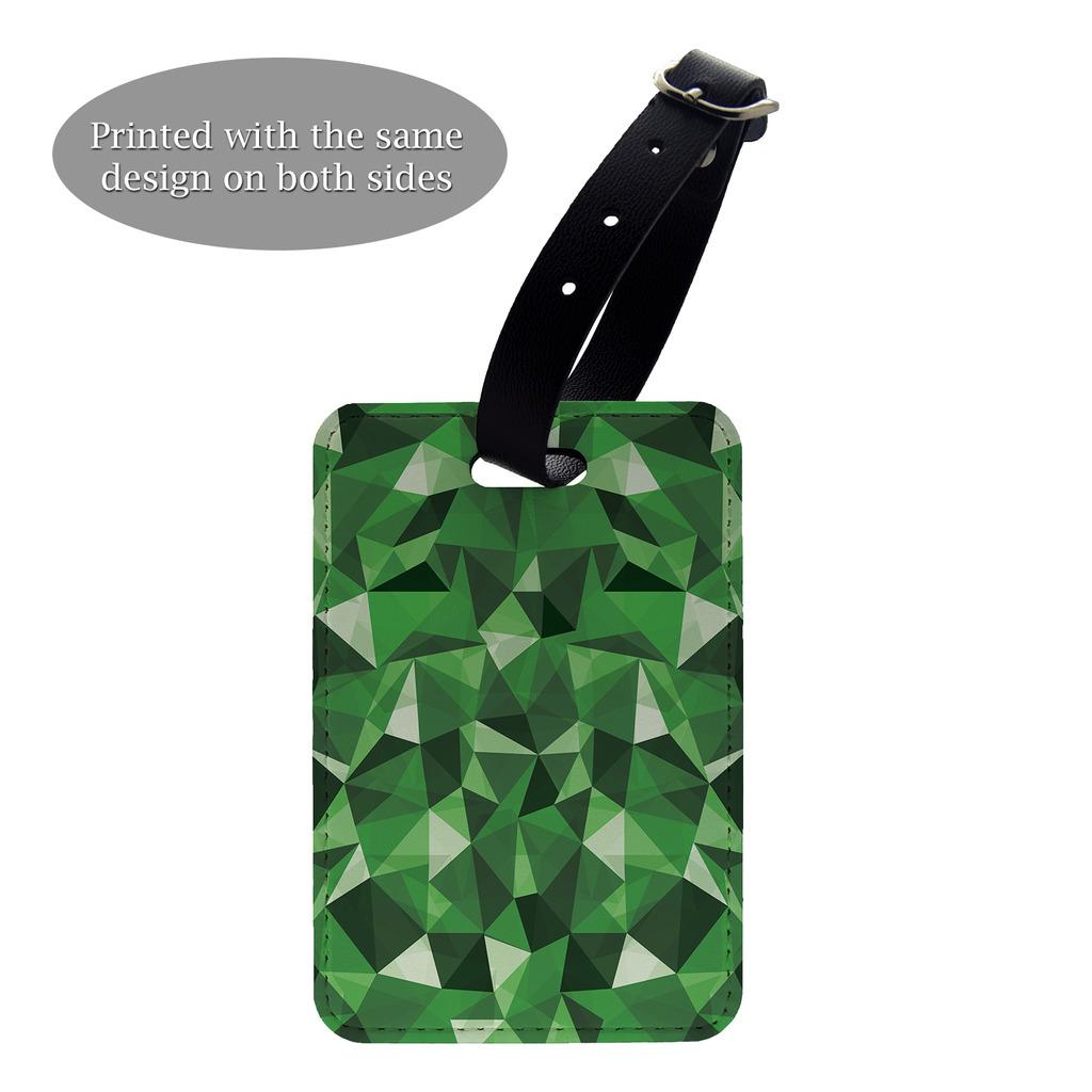 Verde-poligonal-diseno-estampado-Etiqueta-de-Equipaje-amp-O-Funda-pasaporte