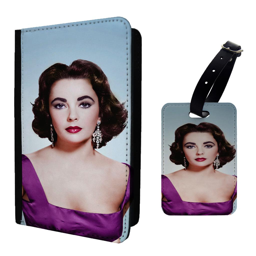Mujer-Iconos-ELIZABETH-TAYLOR-Etiqueta-de-Equipaje-amp-O-Passport-Soporte-a793