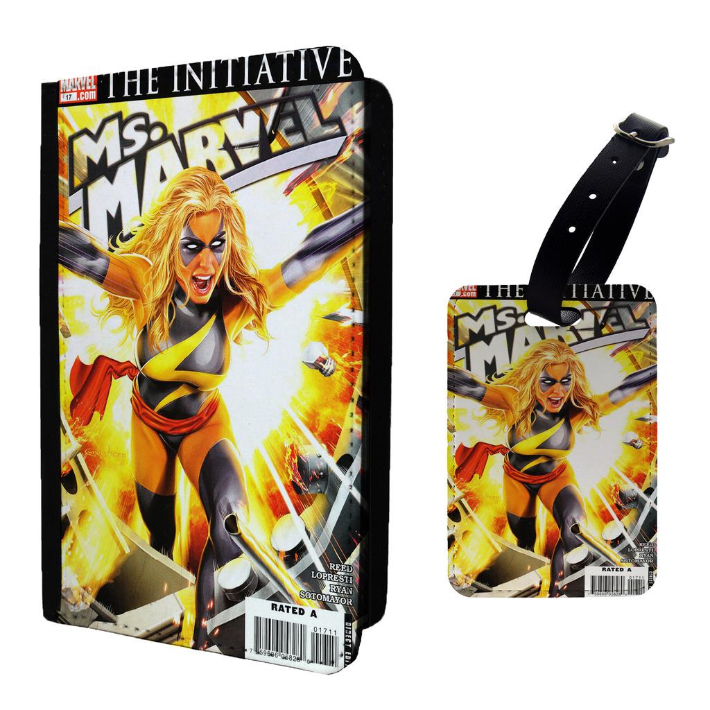 Marvel-Comic-Ms-Marvel-Etiqueta-de-Equipaje-amp-O-Passport-Soporte-a855