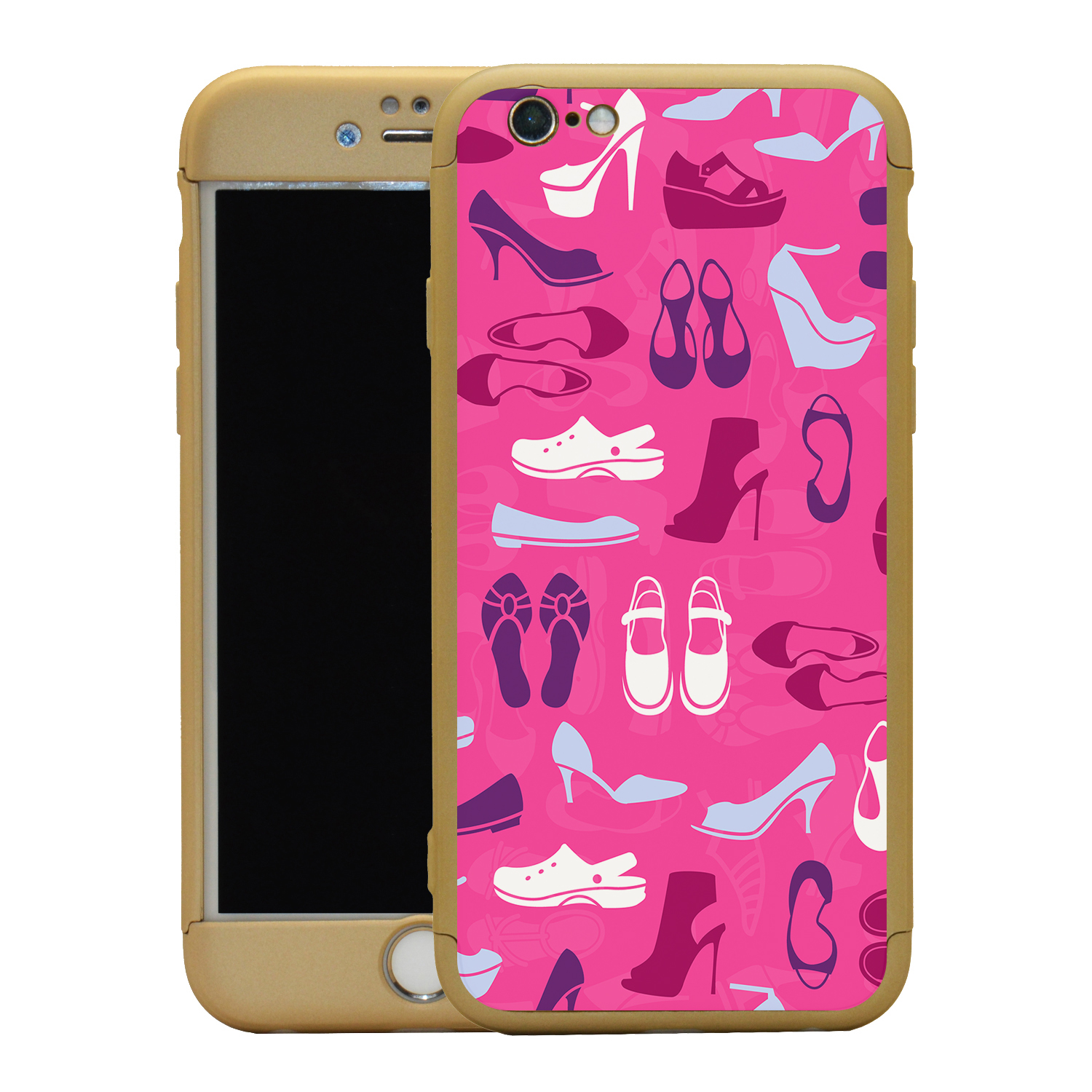 Zapatos de color rosa Collage 360 ° Estuche Y Vidrio Templado Funda Para Iphone-S1140