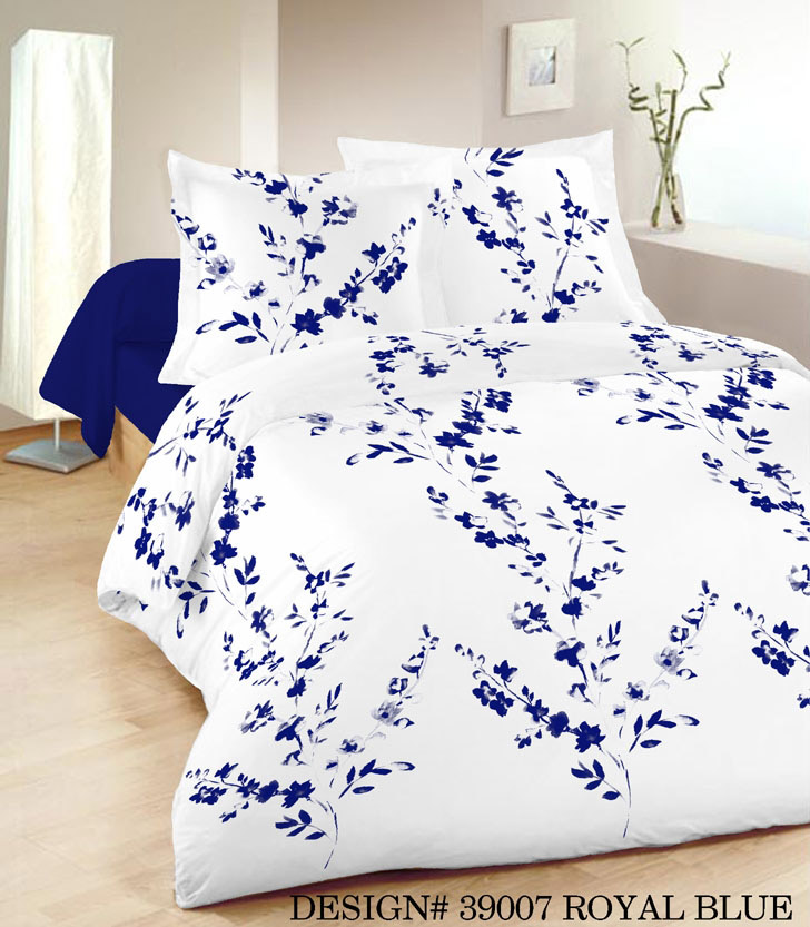 Single Henley Floral Duvet Set in White and Blue