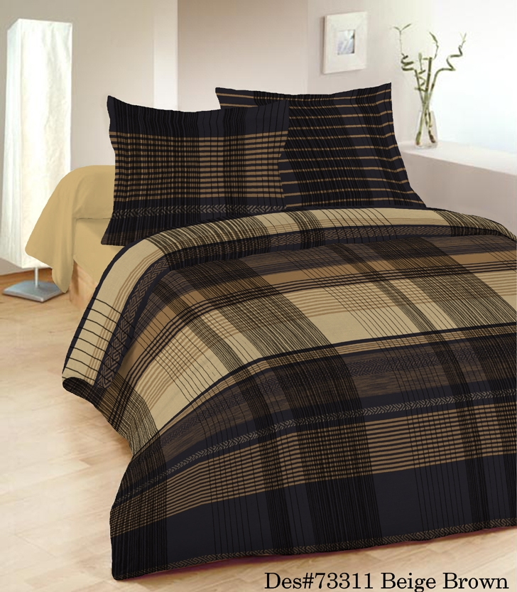 Malvern Check Double Easy Iron Blended Cotton Duvet Set In Brown