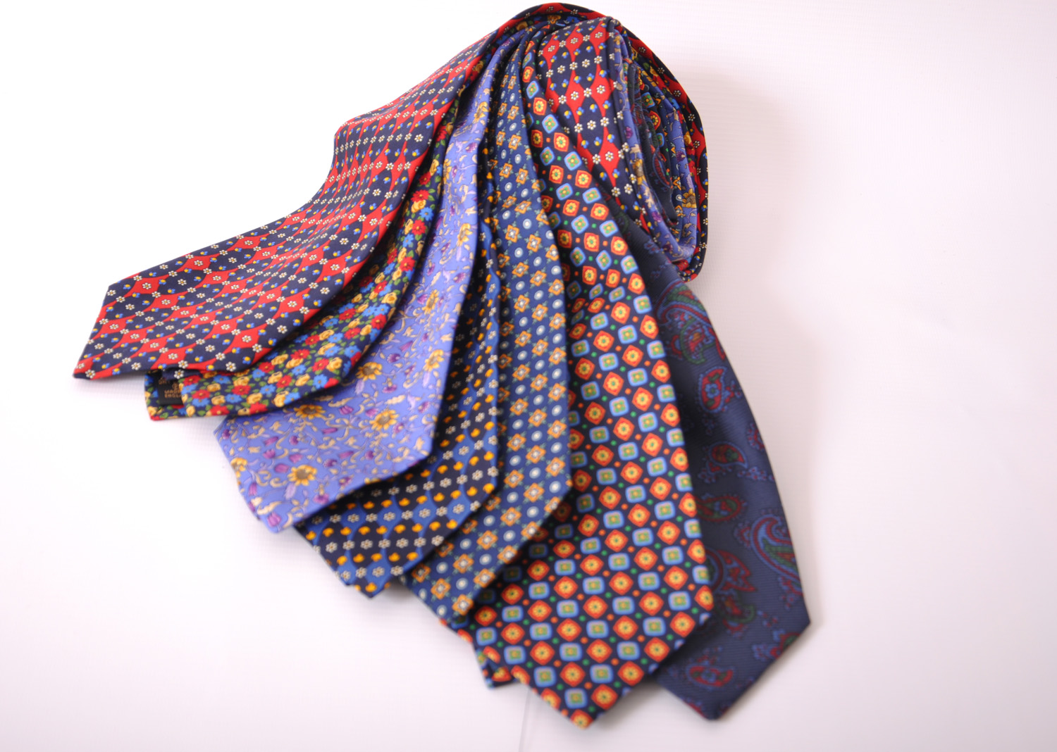 Cavenagh of London 7Piece 100% Pure Silk Ties Made in UK (426D)RRP£139.99