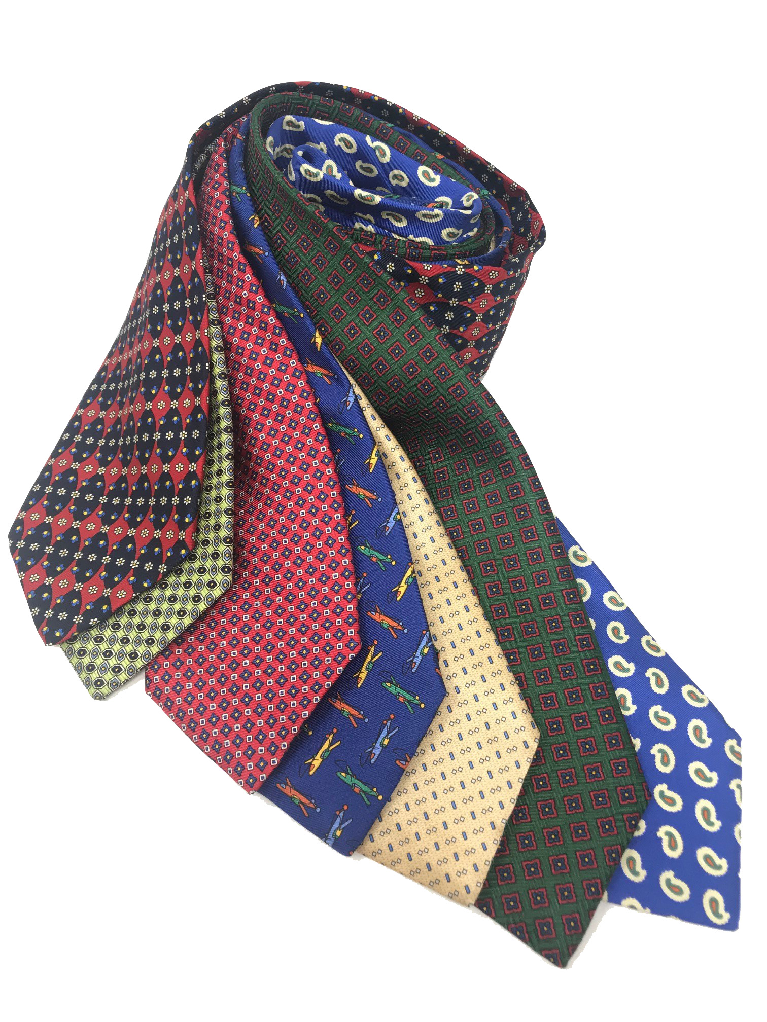 Cavenagh of London 7Piece 100% Pure Silk Ties Bundle Made in UK (704D)