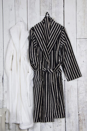 100% Cotton Velour Men's Shawl Collar Robe in Black and Cream Stripe Thumbnail 1
