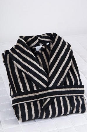 100% Cotton Velour Men's Shawl Collar Robe in Black and Cream Stripe Thumbnail 3