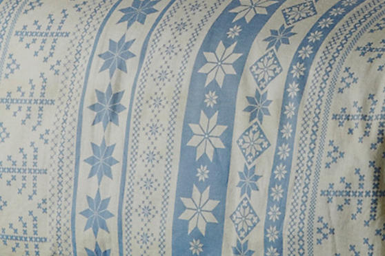100% Brushed Cotton Flanelle Nordic Print Duvet Set in Blue Thumbnail 2