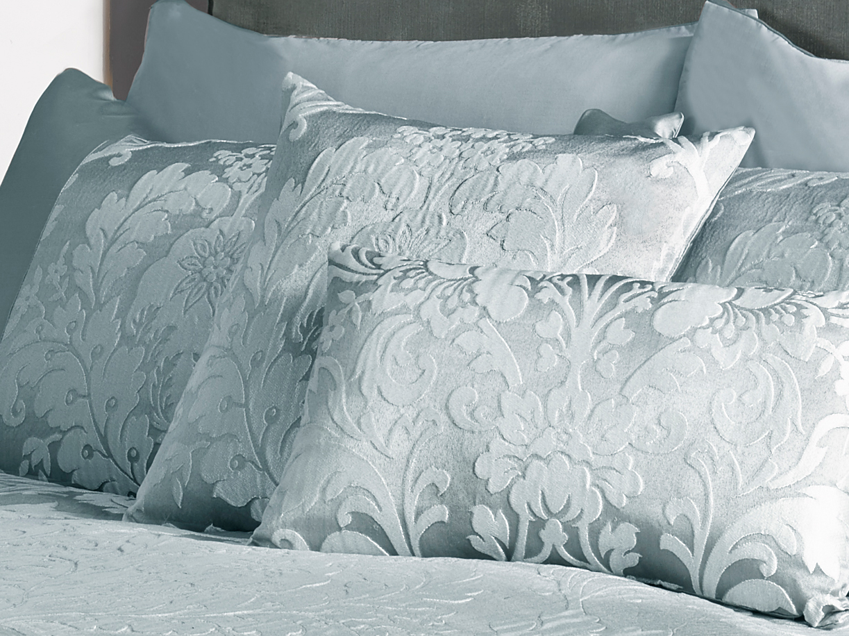 Deluxe Boston Jacquard Damask Cushion Cover In Duck Egg Blue