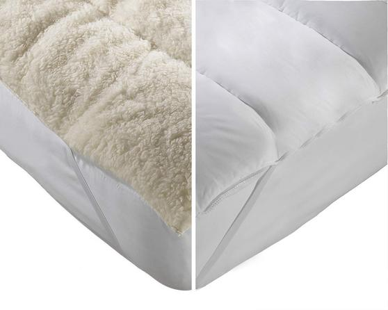 Reversible 'Just Like Wool' Mattress Topper/Reviver with Elastic Straps & Pillows