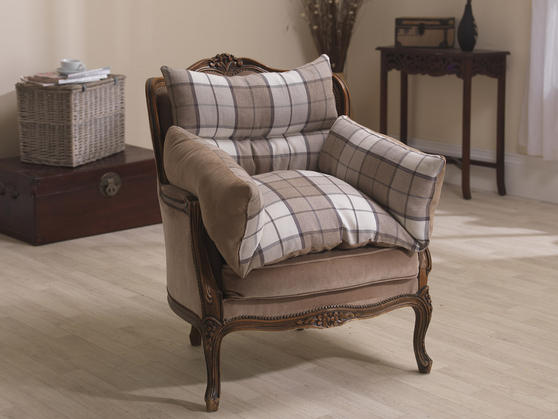 Luxurious Comfort Reversible Suede and Patterned Fabric Support Arm Chair Nest Thumbnail 2