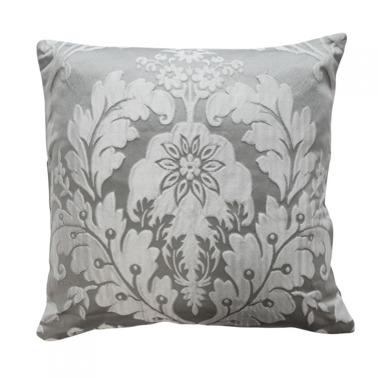 Deluxe Boston Jacquard Damask Cushion In Grey Cushions