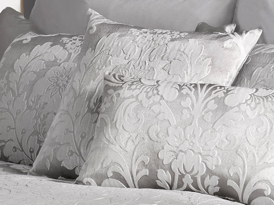 Deluxe Boston Jacquard Damask Cushion in Grey Thumbnail 1