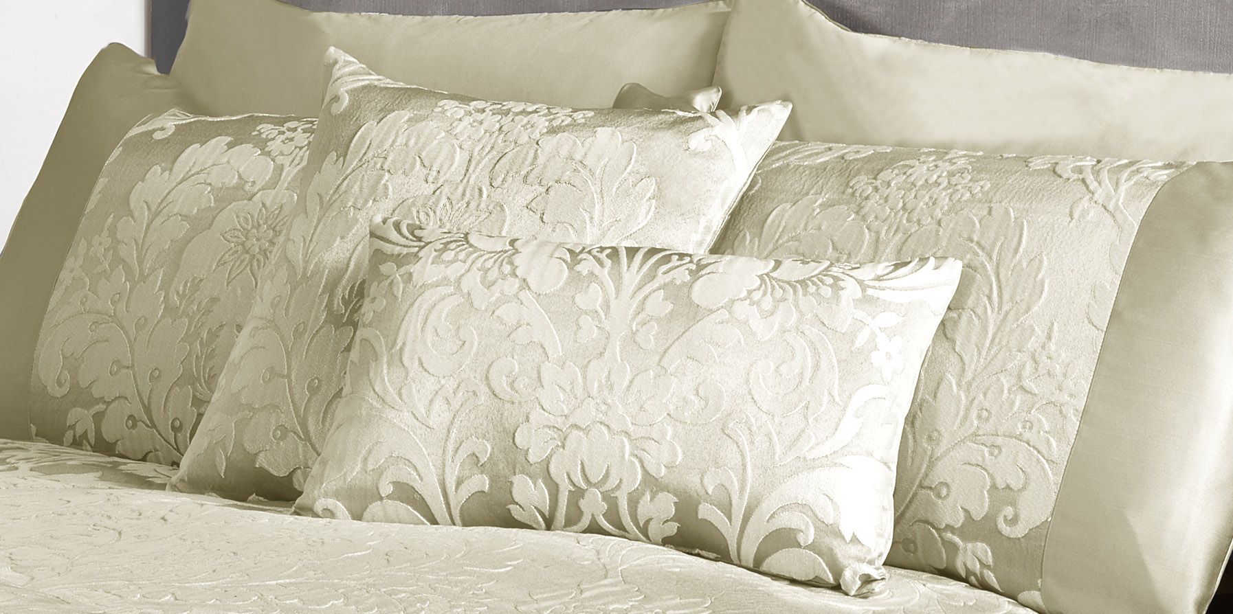 Luxury Charleston Jacquard Damask Filled Boudoir Cushion in Cream