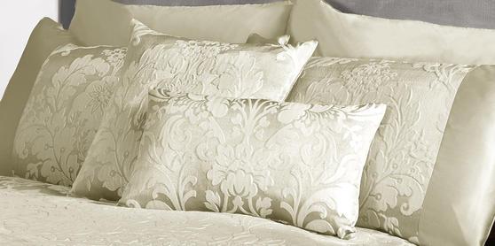 Luxury Charleston Jacquard Damask Cushion Cover in Cream Thumbnail 2
