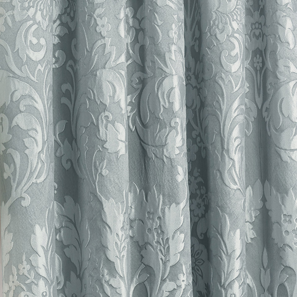 Luxury Charleston Jacquard Damask Lined Curtains In Duck