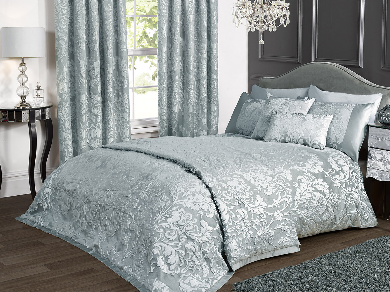 Luxury Charleston Jacquard Damask Bedspread in Duck Egg Blue