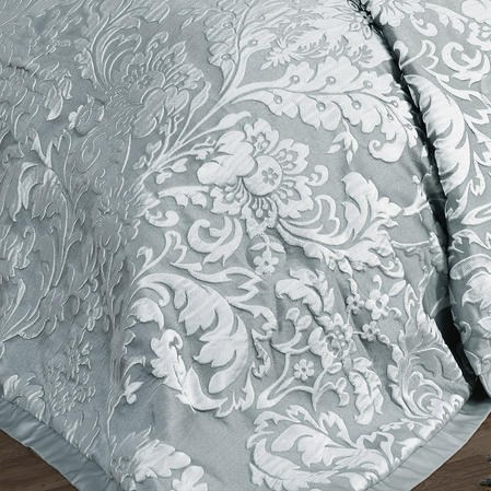Luxury Charleston Jacquard Damask Bedspread in Duck Egg Blue Thumbnail 3