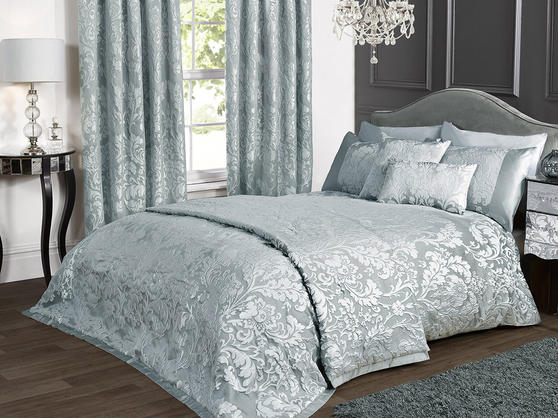 Luxury Charleston Jacquard Damask Bedspread in Duck Egg Blue Thumbnail 1
