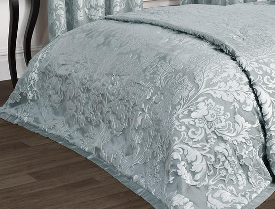 Luxury Charleston Jacquard Damask Bedspread in Duck Egg Blue Thumbnail 2