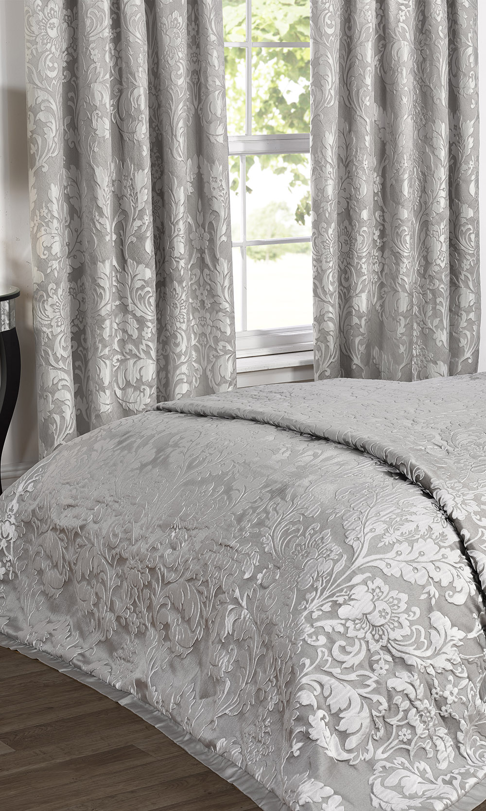 Luxury Charleston Jacquard Damask Lined Curtains in Grey ...
