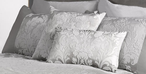 Luxury Charleston Jacquard Damask Cushion Cover in Grey Thumbnail 2