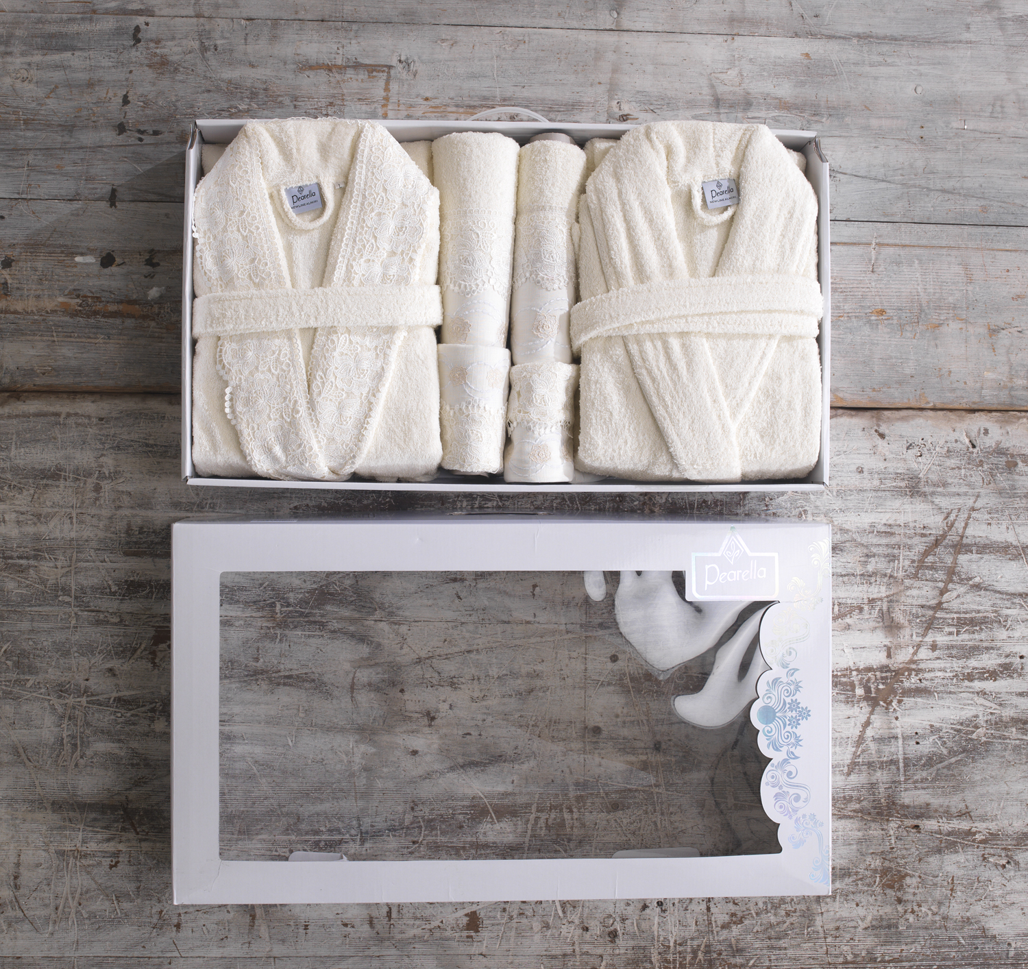 His and hers cream high quality 11 piece bath robe towel for His and hers bathroom set