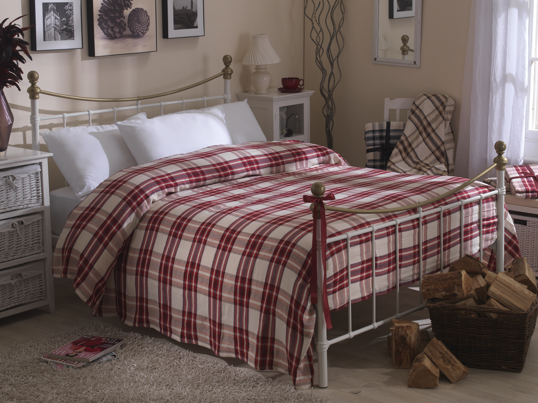 Bedspreads.Handwoven Cotton Tartan Checked Textured Bedspreads