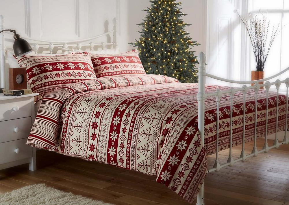 100% Brushed Cotton Flannelette Red Nordic Printed Festive Christmas Duvet Set