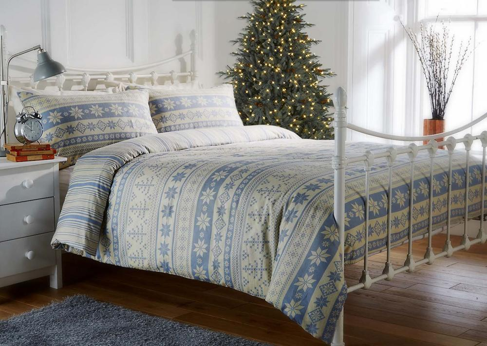 100% Brushed Cotton Flannelette Blue Nordic Printed Festive Christmas Duvet Set