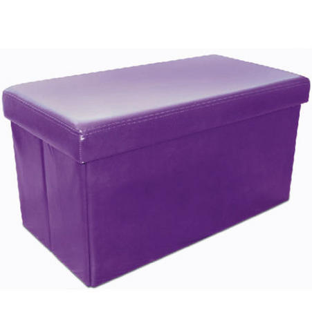 Large Multi Purpose Faux Leather Ottoman Box/Chair in Aubergine Thumbnail 1