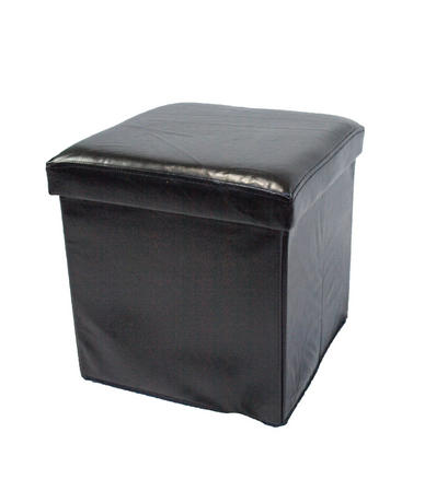 Multi Purpose Faux Leather Folding Ottoman Storage Box/Chair In Black