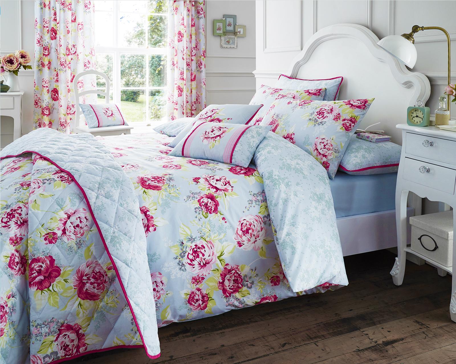 Cotton Rich Flower Bouquet Design Duvet Set and Bedding Range in Grey / Pink