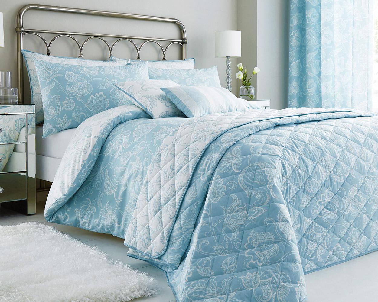 Cary Cotton Rich Floral Design Duvet Set and Bedding Range in Duck Egg Blue