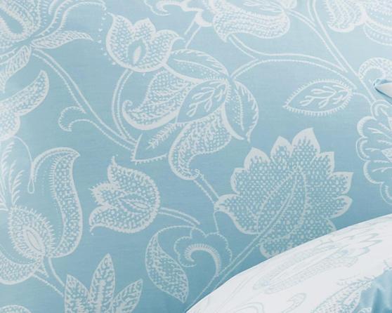 Cary Cotton Rich Floral Design Duvet Set and Bedding Range in Duck Egg Blue Thumbnail 2