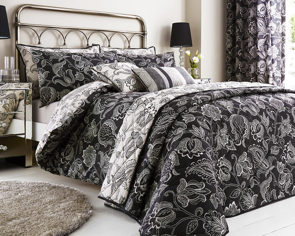 Cary Cotton Rich Floral Design Duvet Set and Bedding Range in Black