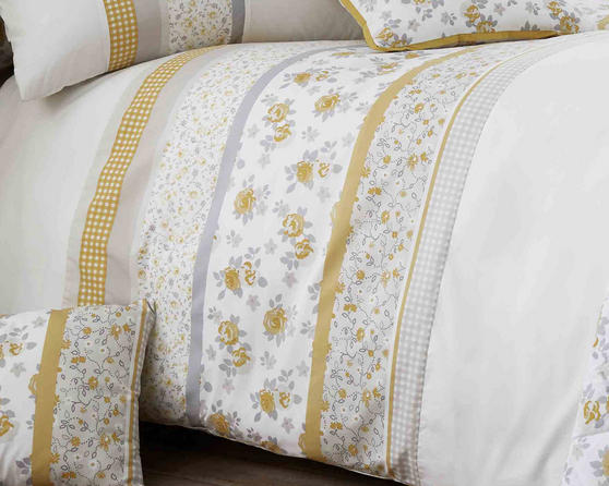 Cotton Rich Garden Flower Design Duvet Set and Bedding Range in Yellow / Grey Thumbnail 2