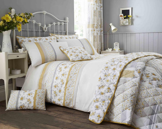 Cotton Rich Garden Flower Design Duvet Set and Bedding Range in Yellow / Grey