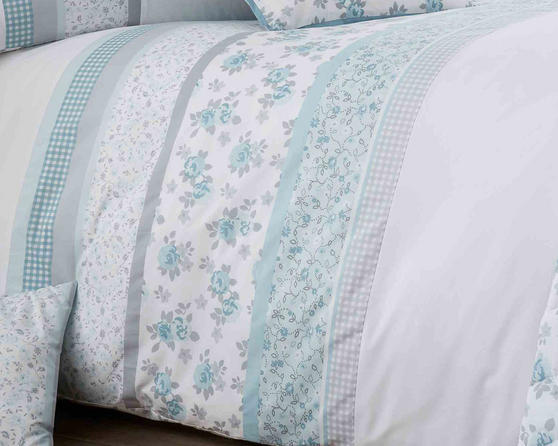 Cotton Rich Garden Flower Design Duvet Set and Bedding Range in Duck Egg / Grey Thumbnail 2