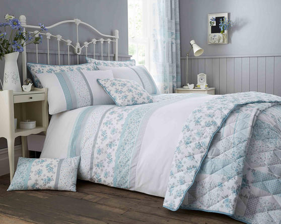 Cotton Rich Garden Flower Design Duvet Set and Bedding Range in Duck Egg / Grey
