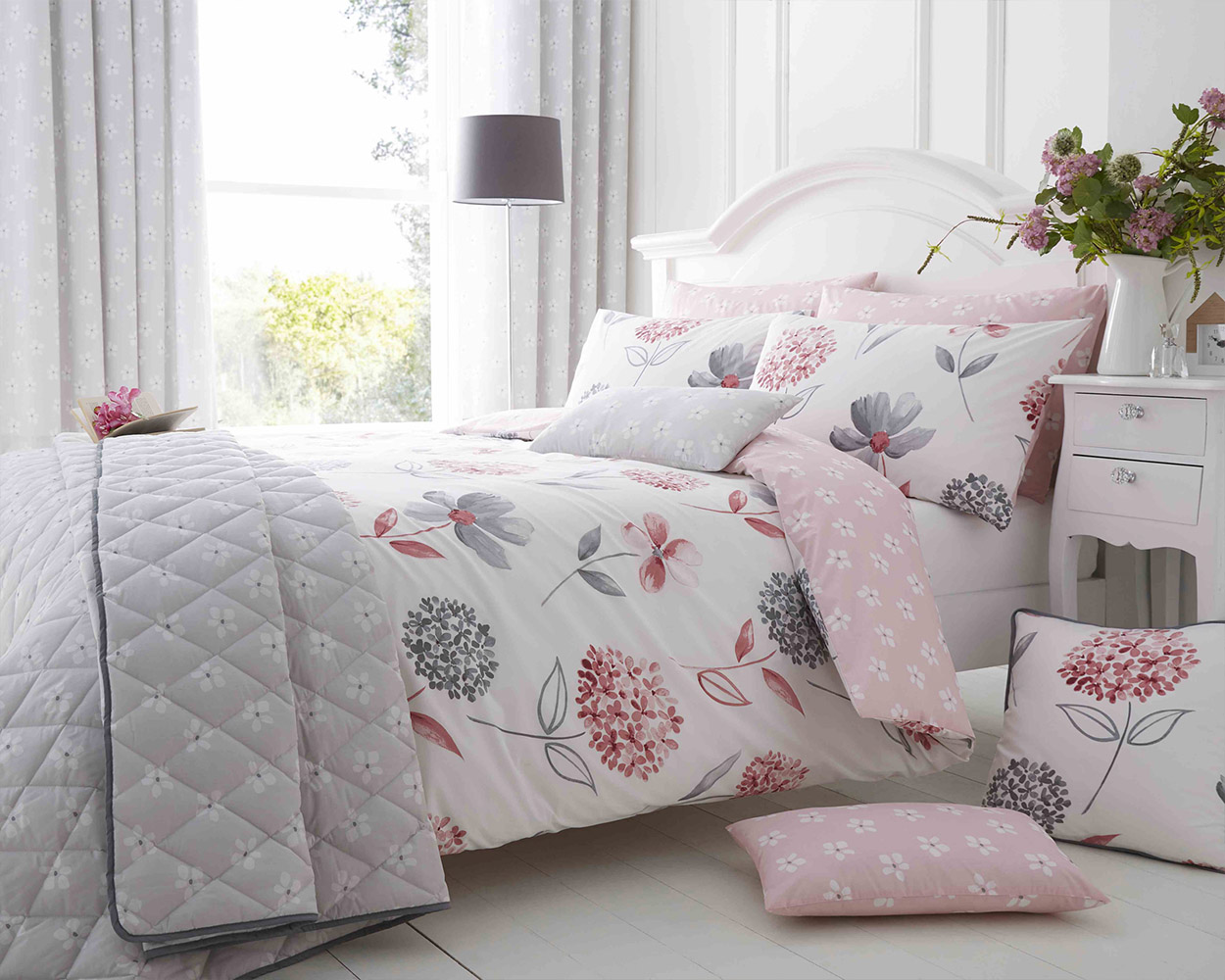 Cotton Rich Caroline Floral Design Duvet Set in Baby Pink and Light Grey