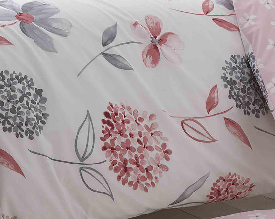 Cotton Rich Caroline Floral Design Duvet Set in Baby Pink and Light Grey Thumbnail 2