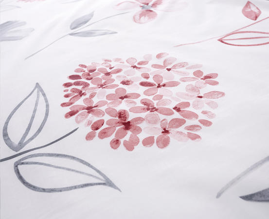 Cotton Rich Caroline Floral Design Duvet Set in Baby Pink and Light Grey Thumbnail 4