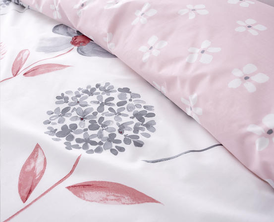 Cotton Rich Caroline Floral Design Duvet Set in Baby Pink and Light Grey Thumbnail 3
