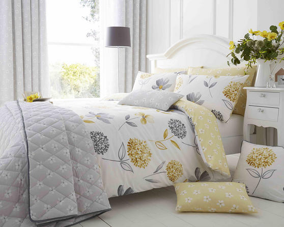 Cotton Rich Caroline Floral Design Duvet Set in Lemon and Light Grey