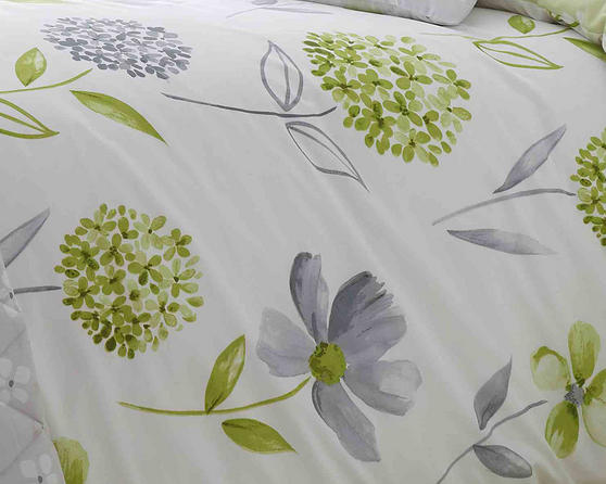 Cotton Rich Caroline Floral Design Duvet Set in Spring Green and Light Grey Thumbnail 2